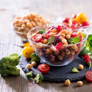 Healthy homemade chickpea and veggies salad, diet, vegetarian, vegan food, vitamin snack